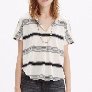 🌻Madewell Luster Split-Neck Striped T-Shirt sz XL